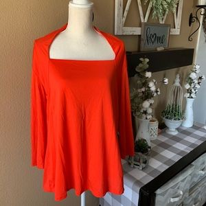Woman's Plus Red 3/4 Sleeve Empire Waist Blouse 2X